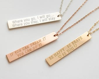 Motivational jewelry etsy quote necklace custom quote quote jewelry inspirational jewelry vertical bar necklace aloadofball Images