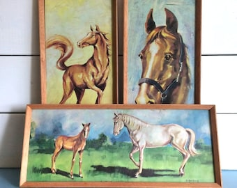 "Set of Three Kitsch Vintage Framed Horse Prints by D. Golding 15.5"" x 6.5"""