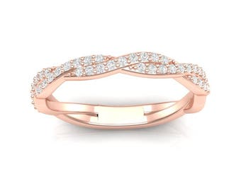 infinity band. rose gold stackable band thin twist wedding infinity 0.28ct diamonds prong