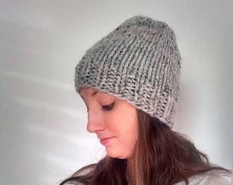 50% OFF SALE Knit Beanie Hat, Knit Hat, Knit Slouchy Hat, Winter Knit Hat, Chunky Knit Hat- Grey Marble - Harlan Hat