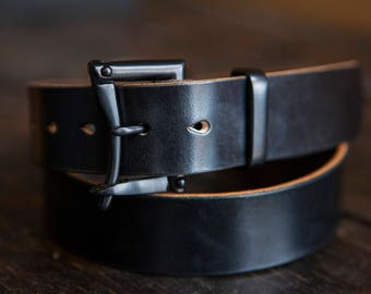 """1.5"""" Black Sedgwick Bridle Quick Release Belt with Black Buckle and Matching Keeper"""