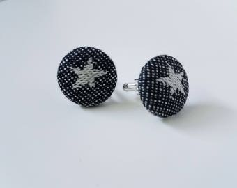 Cuff Links - Cari Slings - Padfoot's Owl Post - Wrap Scrap - Rainbow - Star - Silver Plated - Gift for Men - Black and White
