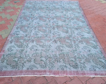 Grey Color Oushak Rug!!! 6'4 x9'11 feet,Vintage Rug,Turkish Rug,Oushak Rug,Grey,Green And Pinky Color Decorative Rug,Rug,İnterior Design