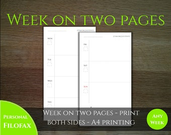 Week on two pages - Classic style -  Personal filofax size