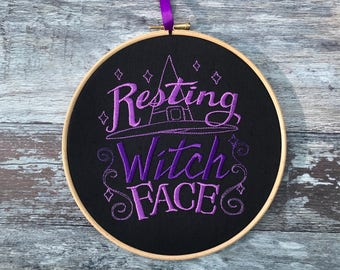 Resting witch face embroidery hoop art gothic home decor gift halloween decoration pagan bitch framed embroidered witchcraft magic witches