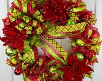 Christmas In July 20% off Christmas Wreath, Poinsettia Wreath, Christmas Decor, Christmas Decoration, Deco Mesh Wreath, Mesh Tubing Wreath,