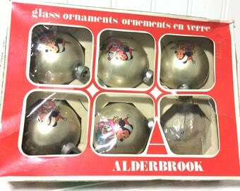5 Vintage Mickey Mouse Glass Ornaments by Alderbrook