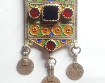 """Morocco old Silver Amulet """"Hirz"""" Pendant, Enamel and Glass cabochons"""