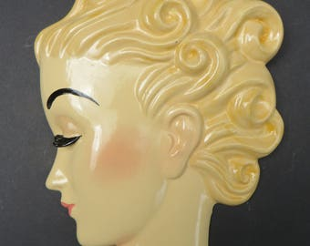 Art Deco style wall mask wall head plaque hand painted  'Margot'