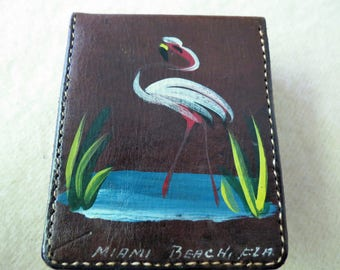 Leather Cigarette Case - Miami, Florida Souvenir - Flamingo