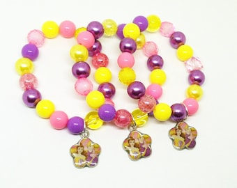 8 Rapunzel and Beauty and the Beast bracelets party favors - Pre-made or kits