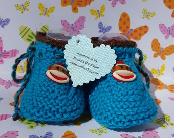 Sock monkey baby booties, blue and brown booties, unisex booties unisex baby shoes booties baby shower baby shower gift new baby gift