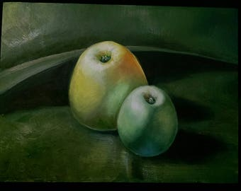 "oil painting on board, ""Apples"", 2017"