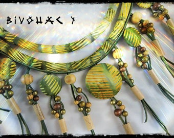 SOLD - camping - fabric necklace predominantly Green / Khaki - wood, metal and bamboo, green leather and seed beads