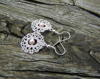 Bobbin lace earrings, Lace earrings, Spider net earrings, Lace jewelry, Bobbin Lace jewelry, Handmade bobbin Lace, Hanging Lace Earrings