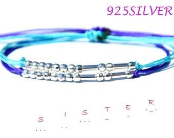 Sister morse code bracelet-Morse code jewelry-Morse code sister -Christmas gift for Sister- Rose bracelet- Sister Bracelet-925 SILVER
