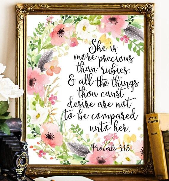 She Is More Precious Than Rubies Proverbs 3 15 Printable Wall