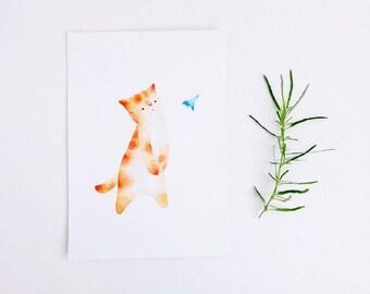 cat watercolour illustration postcard digital print nursery art wall art print cat print watercolor print - The messsenger