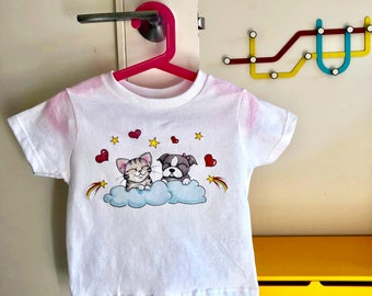 Cutest Ever Kitty & Puppy T-Shirt!   Adorable kids clothing sizes Toddler - Youth Boston Terrier Puppy and Calico Kitten