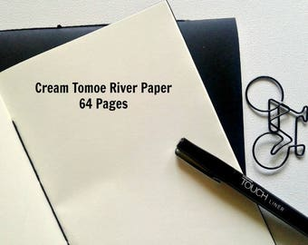 CREAM TOMOE RIVER Paper - Traveler's Notebook Insert, Fountain Pen Friendly, Fauxdori Insert, Midori Insert, Calligraphy Notebook - N272