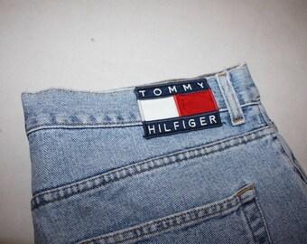 Vtg TOMMY Hilfiger Jeans Distressed Pants Denim 36 XL Extra Large 90s Hip Hop Vintage Flag Old School Polo Sport Athletics Ralph Lauren