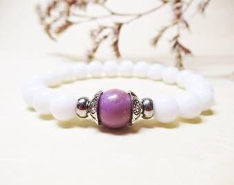 Phosphosiderite Bracelet Agate Bracelet Romantic Bracelet Healing Bracelet Calming Bracelet Womens Bracelet Gemstone Bracelet White Agate
