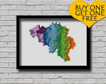 Cross Stitch Pattern Belgium Map Watercolor Painting Effect Embroidery Modern Ornament European Country Xstitch Continent Pattern
