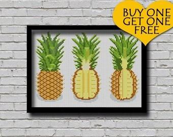 Cross Stitch Pattern Pineapple Set Nature Inspired Fruit xstitch Digital PDF Pattern Pineapple Slice Pattern Instant Downloadable Files