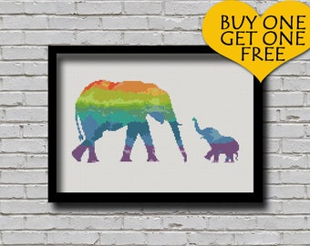 Cross Stitch Pattern Elephant Animal Portrait Mother and Baby Elephant Printable Digital Pattern Xstitch Rainbow Color Mom & Baby