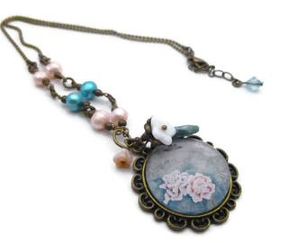 Necklace picture Japanese flowers and freshwater pearls