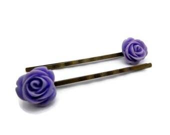 Set of 2 hairclips resin purple