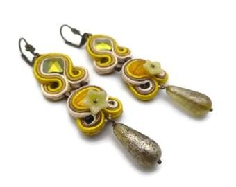 Boucles d'oreilles élégance soutache cristal autrichien et perles de bohème