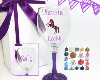 Unicorn wine glass, unicorn wine glasses, unicorn gift, unicorn decor, unicorn glass, unicorn gift ideas,  unicorn gifts for adults