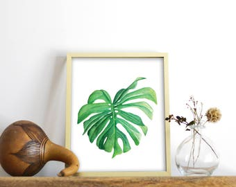 Watercolor Tropical Leaf Print, Monstera Leaf, Philodendron Leaf Print, Watercolor Print, Downloadable Print, Plant Art, Printable Art