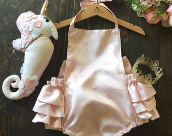 Ruffle romper - pink ruffle romper - big bow romper - playsuit - photography props - toddler romper - birthday - toddler - baby - newborn