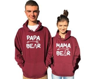 Mama Bear Papa Bear couple hoodies, matching hoodies, Comes in a a pair*