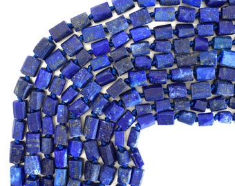 """8-9mm matte faceted lapis lazuli nugget beads 15.5"""" strand 39362"""