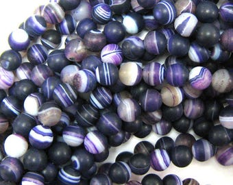 "8mm purple frost stripe agate round beads 15"" strand 34002"