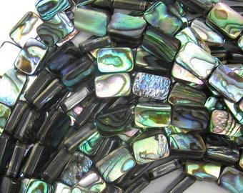 "8mm abalone shell rectangle beads 15.5"" strand 32785"