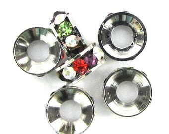 6 9mm silver plated rhinestone rondelle beads multicolor findings 13641