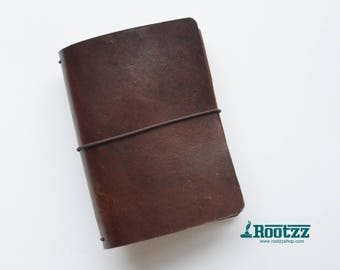 A6 Traveler's notebook brown leather - midori like- fauxdori