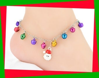 Christmas Anklet, Plus Size, Women Stocking Stuffer, Santa Anklet, Stocking Stuffer for Teen Girl, Jingle Bells Anklet, Present, #AKL-0003