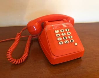 Vintage phone - Socotel S63 - French - Orange - 70s - retro design