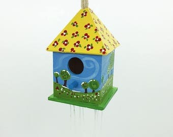 Birdhouse,Decorated birdhouse,Hand painted wood decor,Colourful birdhouse,Spring landscape painting,Spring decor,Housewarming gift,Garden