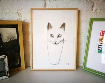 Cat. Nº 3. Original drawing. Pencil on paper. 29.5x21 centimeters. Gift, Christmas, petite illustration, cats, pets, animals.