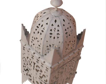 Moroccan lantern from Iron Marrakech hand forged 55 cm, white