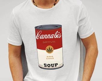 Mens Designer Cannabis Sativa Soup MMM Good - Printed Cotton White T-Shirt