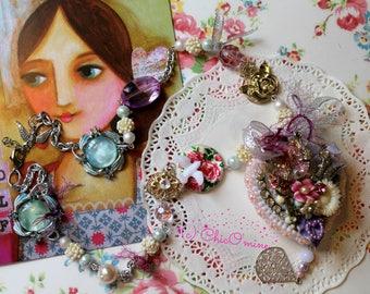 Assemblage Romantic Shabby Chic Vintage Heart Locket Necklace: Floral Jewelry, OOAK, Sweet Lolita, Bohemian Jewelry