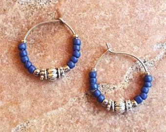 """Beaded Blue Silver Hoop Earrings, Navy Blue Stainless Steel Earrings, Small 3/4"""" Diameter in Navy"""
