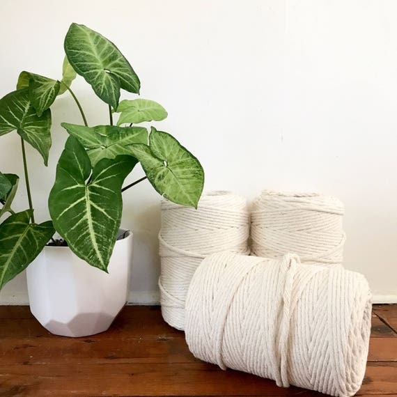Macrame Cord 7.5mm x 2kg (approx 230m) Single Twisted Soft Natural Australian Cotton